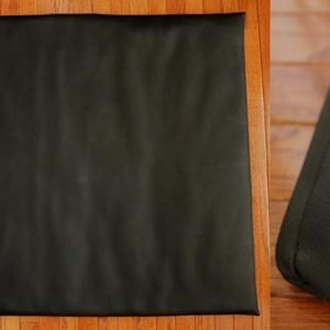 Dog mat made from black BeCool Vinyl (wide image and closeup)