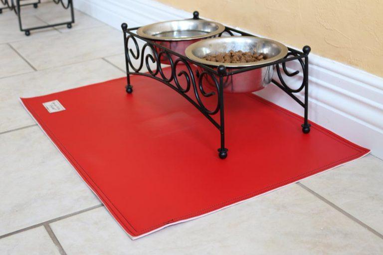 Stylish Naugahyde pet feeding mats (waterproof cat & dog bowl placemats)